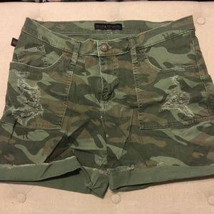 Green Camo Jean Shorts